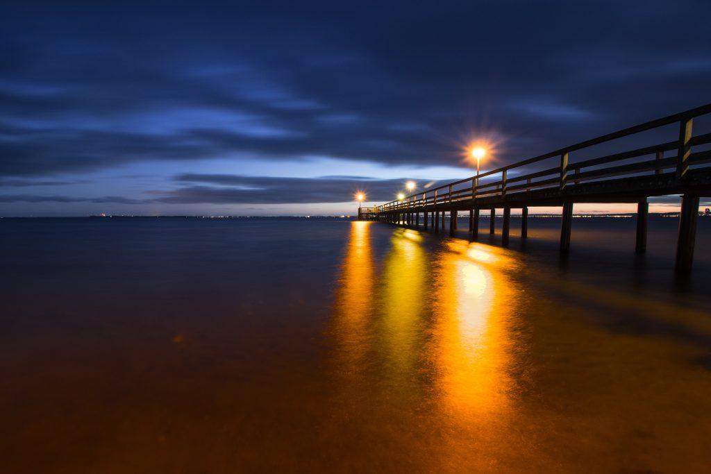 Blick vom Strand zum Meer in Pelzerhaken